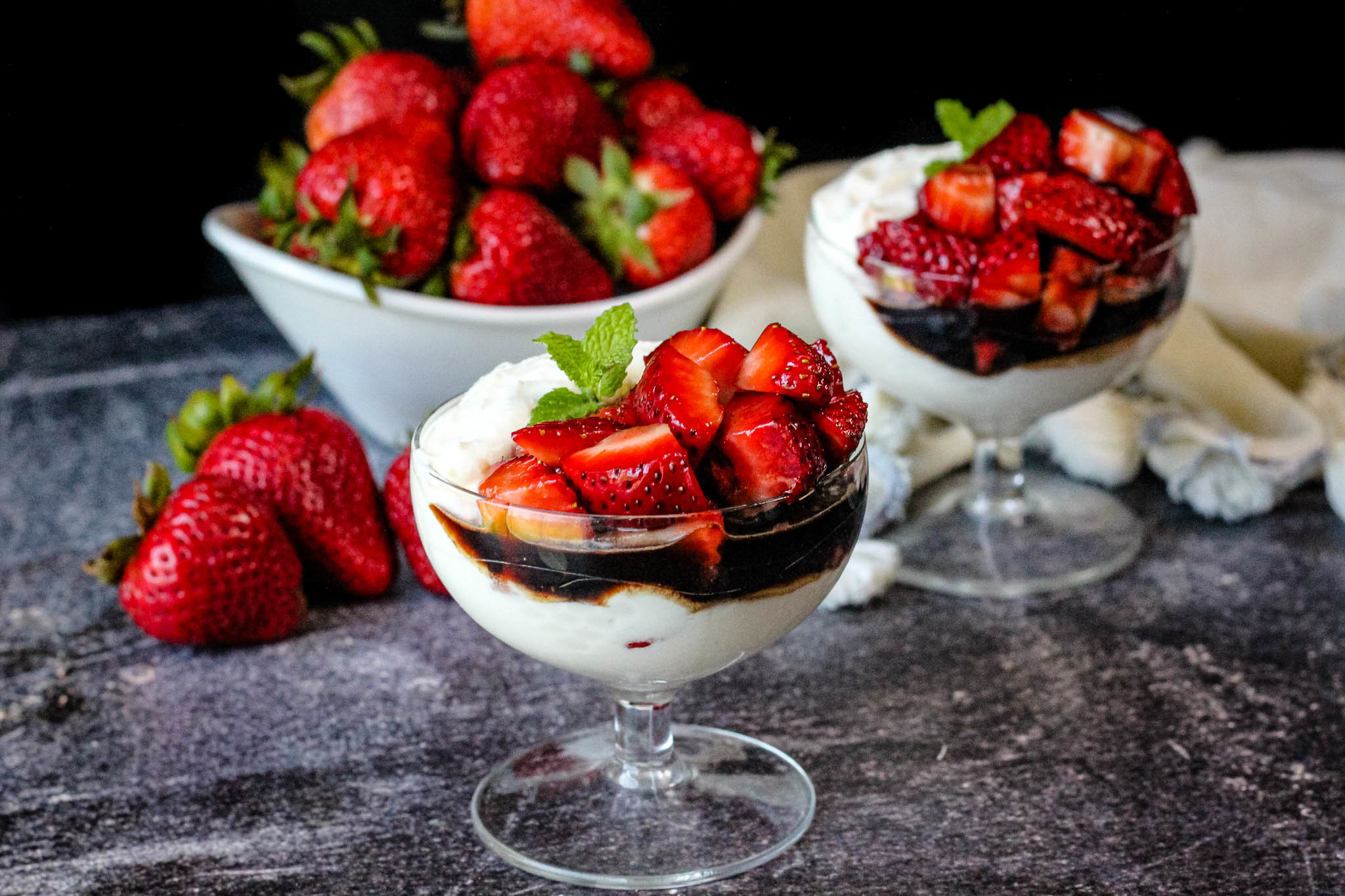 Ricotta Mascarpone Mousse w/ Balsamic Strawberries Recipe | Just A ...