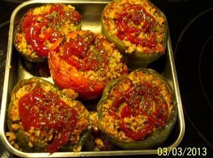 4-STUFFED  GREEN BELL PEPPER RECIPE with Red Hats!