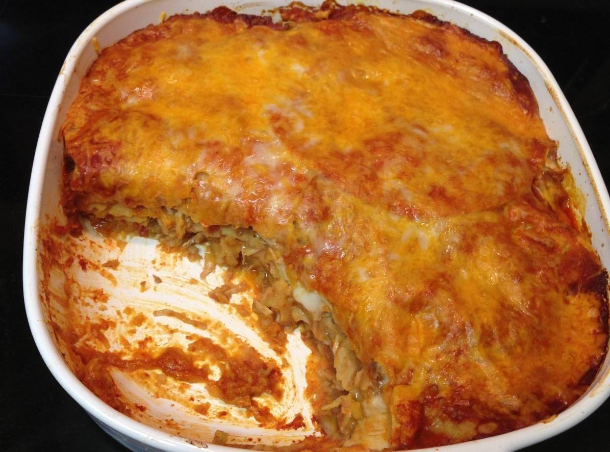 Oh So Good Chicken Enchilada Bake Recipe | Just A Pinch Recipes