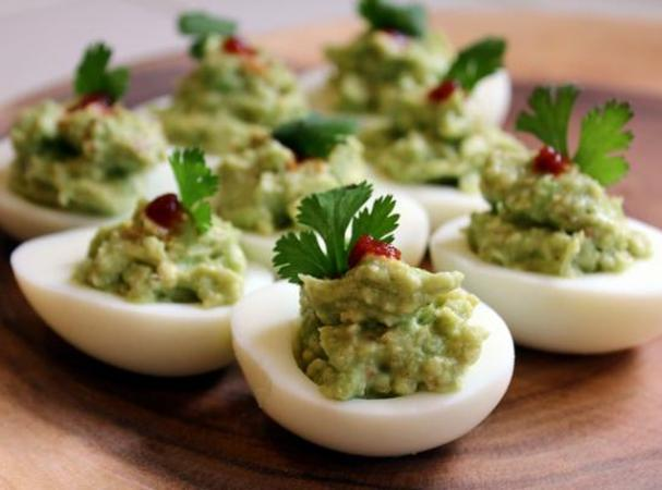 Easy Guacamole Deviled Eggs Recipe | Just A Pinch Recipes