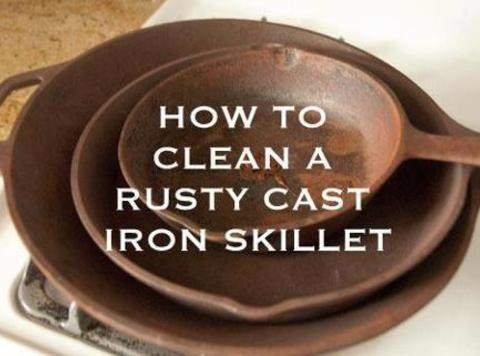 how to clean a rusty cast iron skillet recipe just a pinch recipes. Black Bedroom Furniture Sets. Home Design Ideas