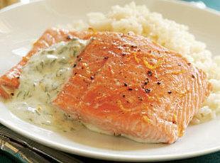 Orange-Roasted Salmon with Yogurt-Caper Sauce Recipe