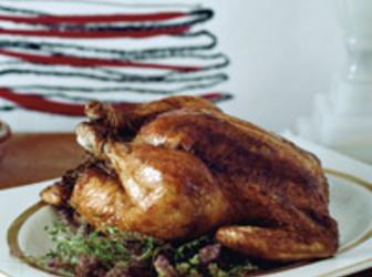 Roasted Chicken with Garlic-Thyme Butter Recipe | Just A Pinch Recipes