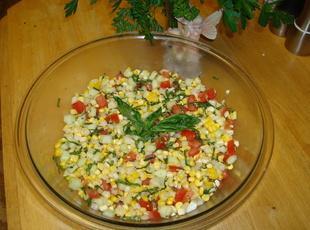 Fresh Basil, Corn and Tomato Salad Recipe