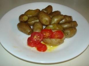 Teeny Tiny Baked Potatoes with Roasted Garlic and Fresh Sliced Mini Pearl Grape Tomatoes Recipe