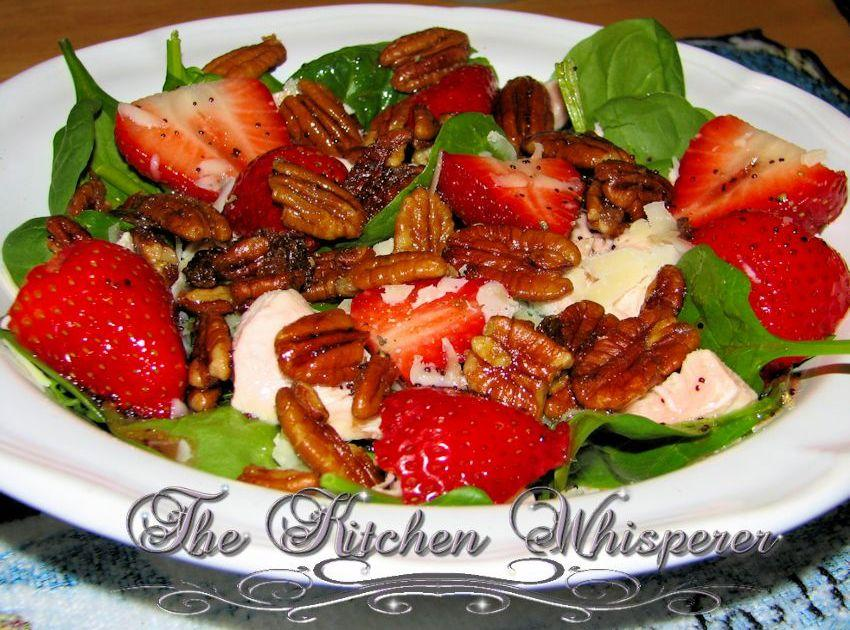 Strawberry Spinach Salad with Sugared Pecans and Grilled Chicken ...