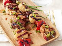 Soy-Wasabi Shrimp and Scallop Skewers Recipe