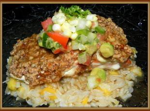Nutty Crusted Salmon w/Coconut Rum Sauce Recipe