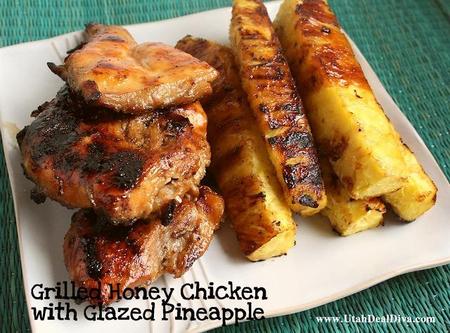 Grilled Honey Chicken with Glazed Pineapple Recipe | Just A Pinch ...