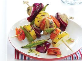 Farm Stand Vegetable Skewers with Rosemary-Dijon Vinaigrette Recipe ...