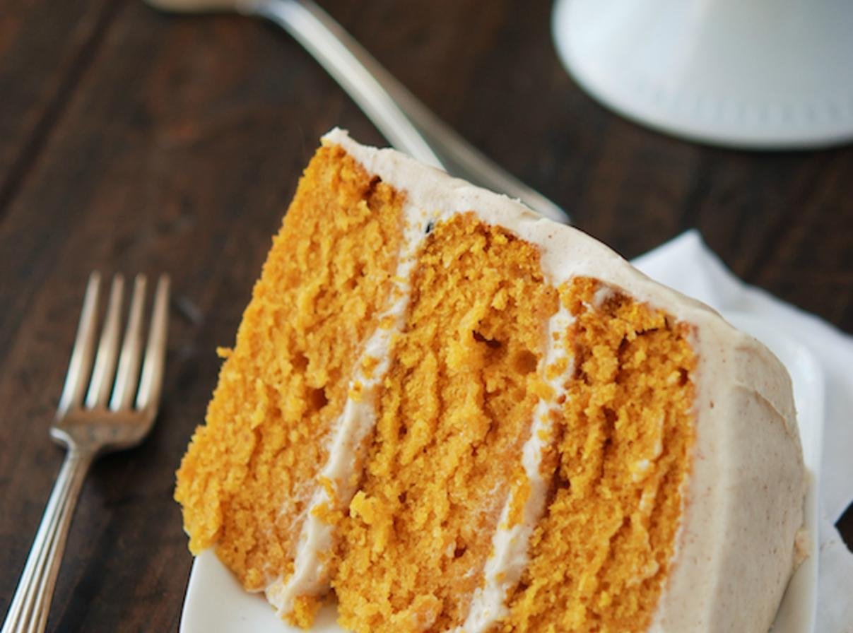 Pumpkin Cake With Spiced Cream Cheese Frosting Recipe — Dishmaps