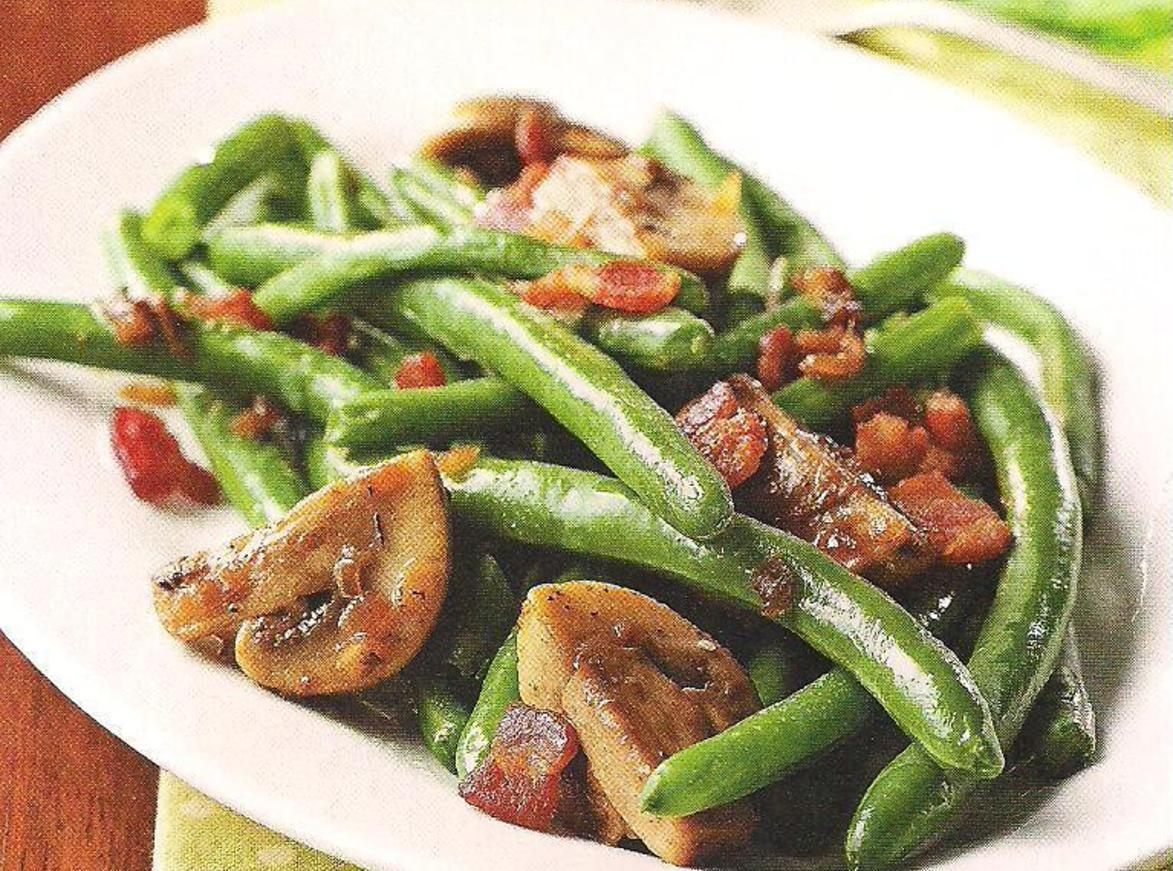 Green Beans with bacon and mushrooms Recipe | Just A Pinch Recipes