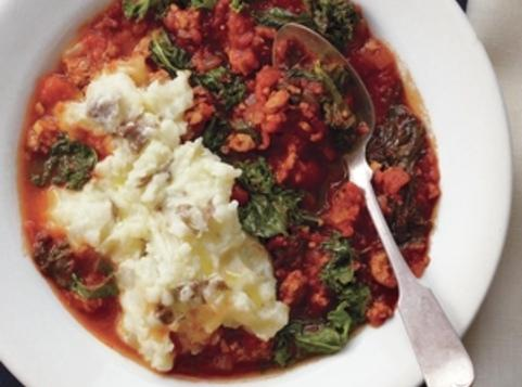Slow-Cooker Sausage and Kale Stew With Olive Oil Mashed Potatoes ...