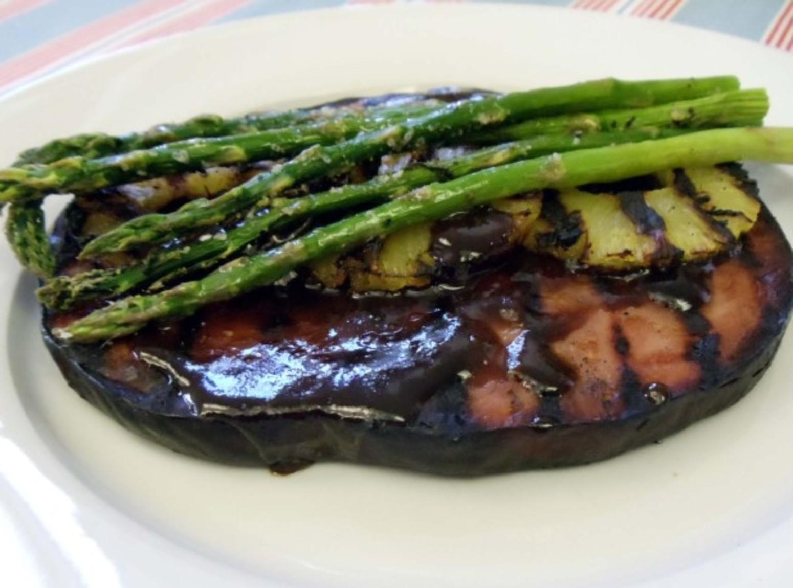 Ham Steak w/ Maple Grilled Pineapple & Asparagus Recipe