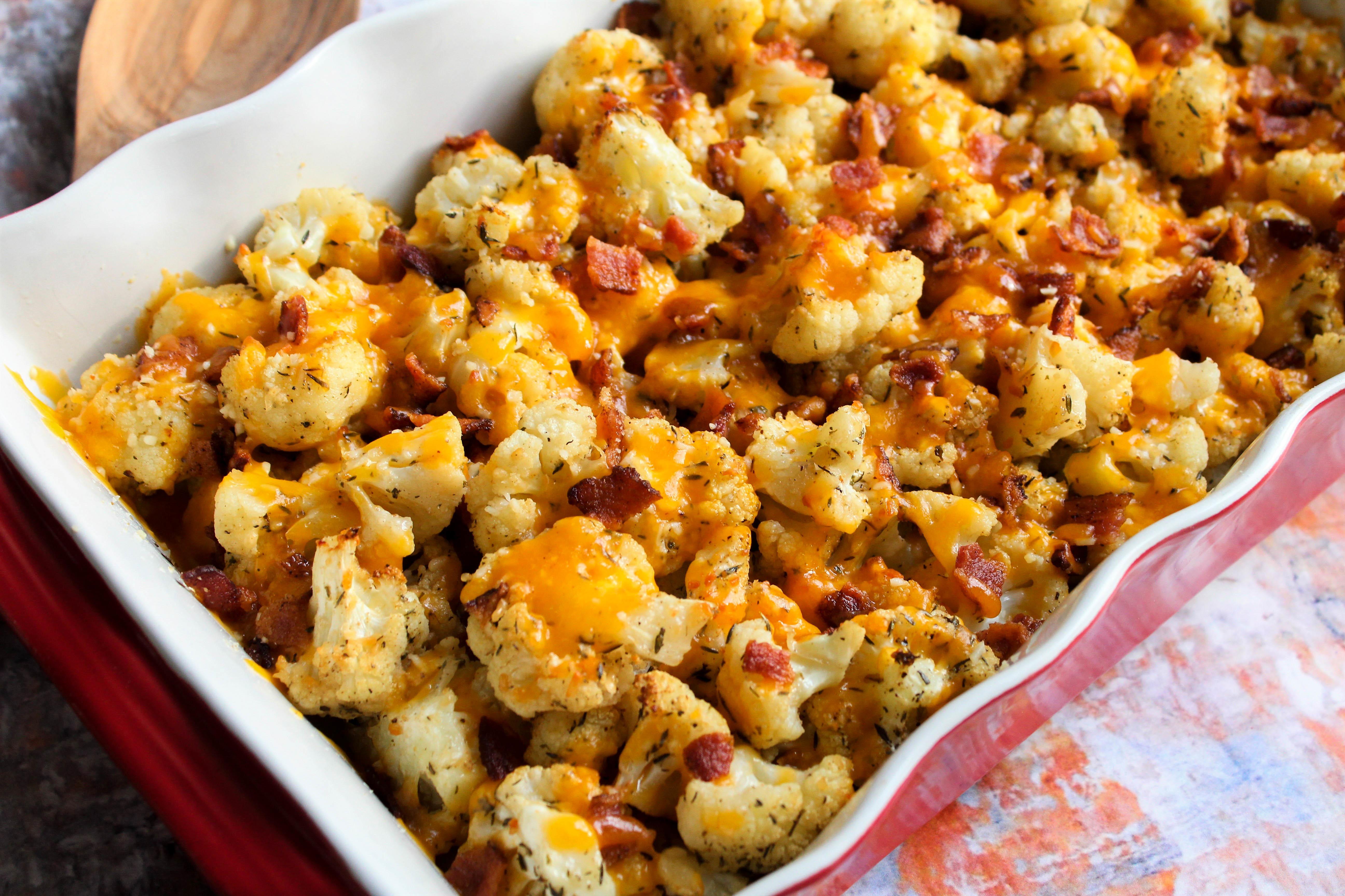 Roasted Bacon Cheddar Cauliflower Recipe | Just A Pinch Recipes