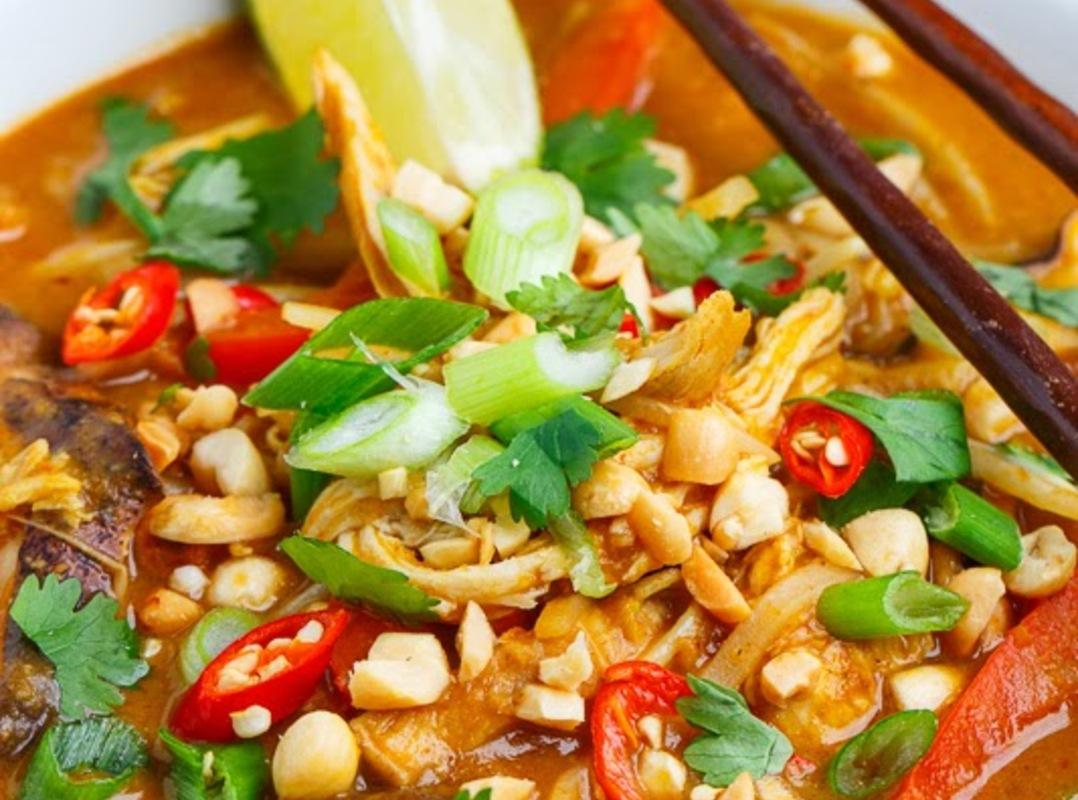 Thai Peanut Chicken Noodle Soup Recipe | Just A Pinch Recipes