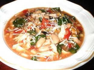 Chicken, White Bean, Spinach & Parmesan Soup Recipe