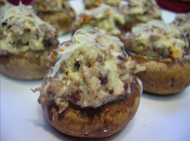 Spicy Sausage Stuffed Monterey Mushrooms Recipe | Just A ...