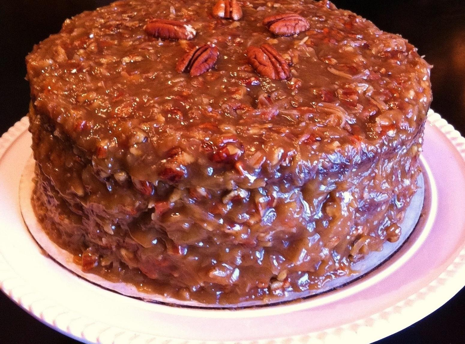 GERMAN CHOCOLATE CAKE WITH COCONUT-PECAN FROSTING Recipe | Just A ...