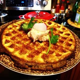Kickin' Cornbread Waffle w/ Kickin' Philly Spread Recipe