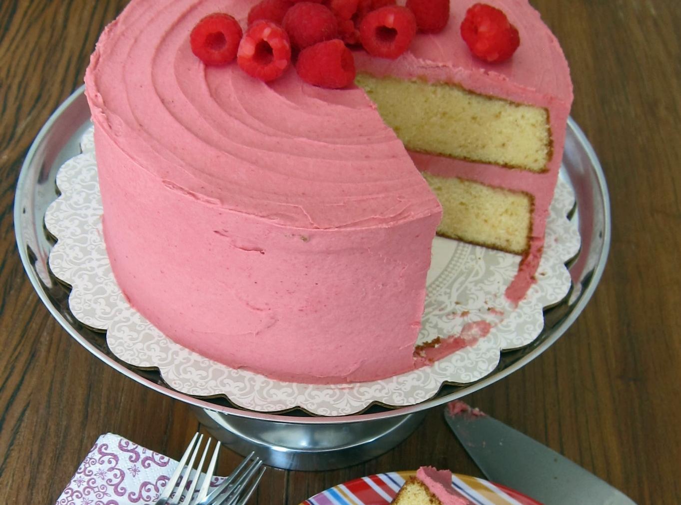 White Layered Cake Recipes: White Chocolate & Lemon Layer Cake With Raspberry Recipe