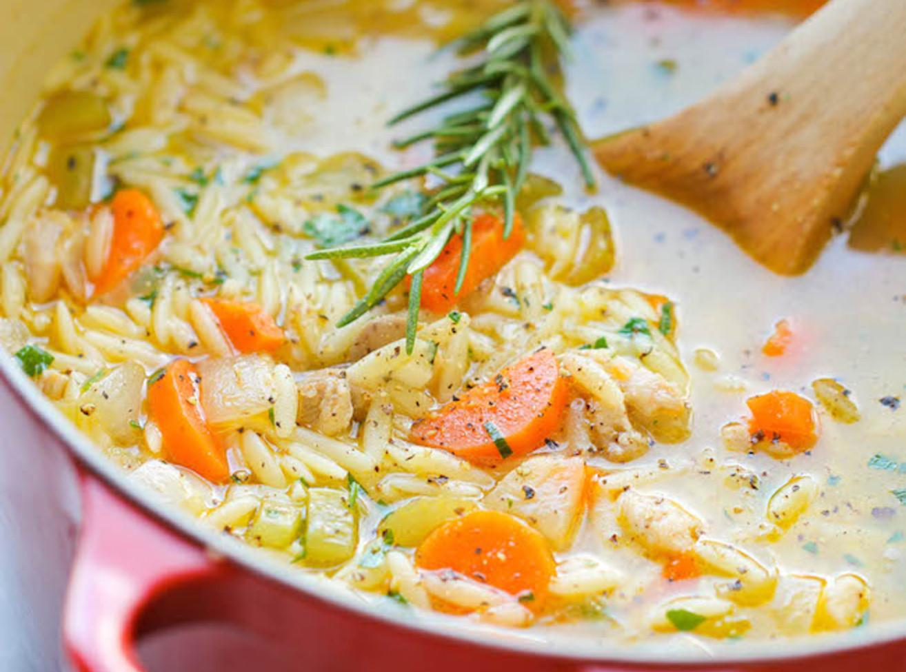Lemon Chicken Orzo Soup Recipe 6 | Just A Pinch Recipes