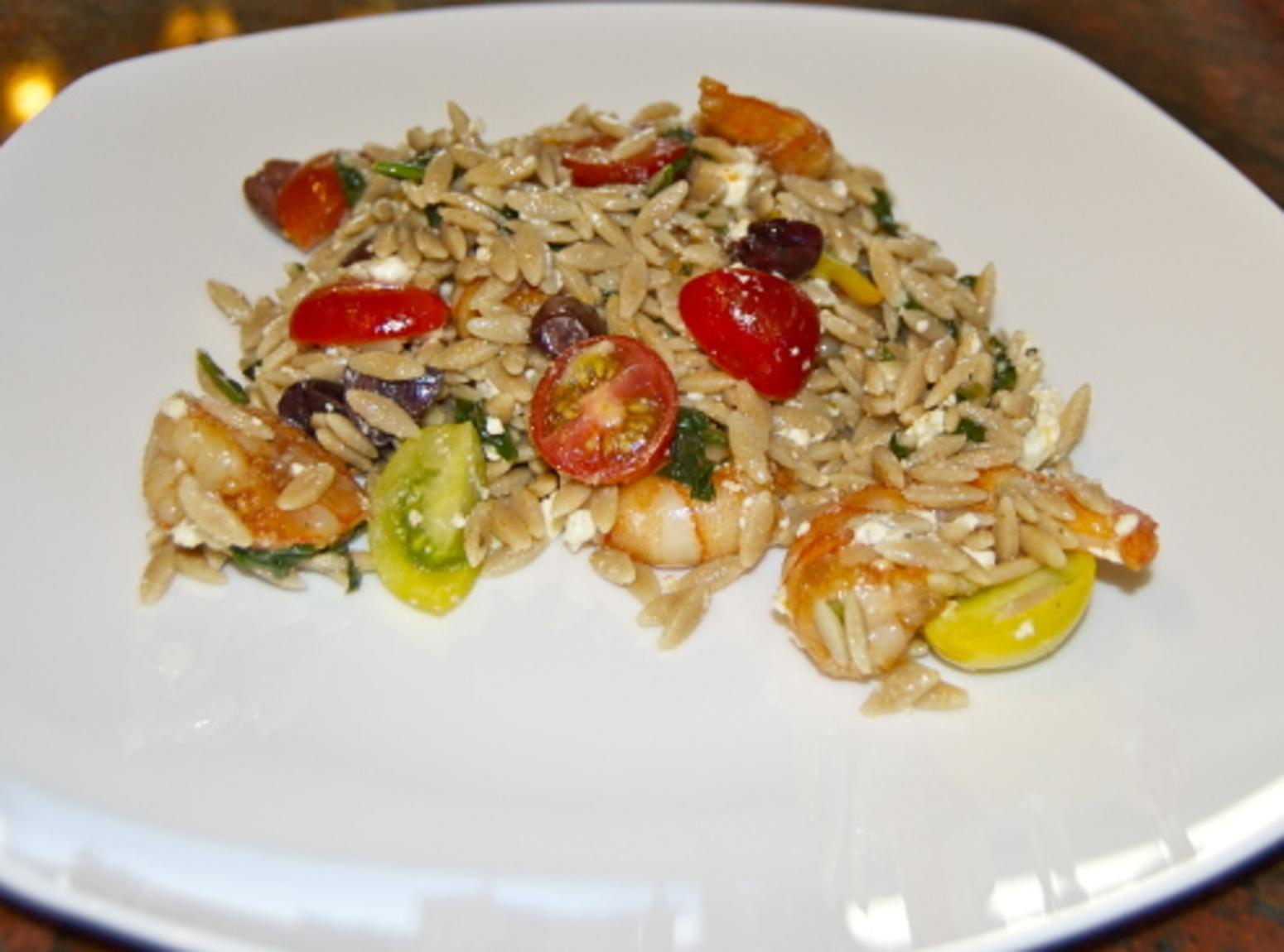 Orzo with Shrimp, Spinach, Tomatoes, Olives and Feta Recipe | Just A ...