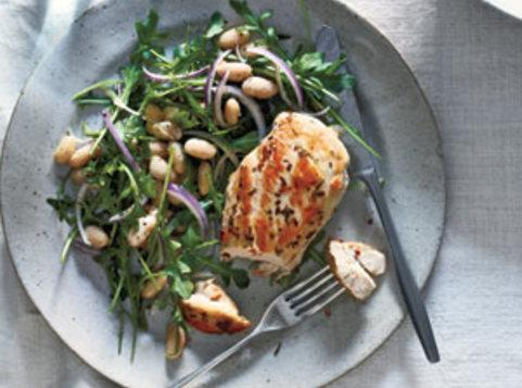Rosemary Chicken With Arugula and White Beans Recipe ...
