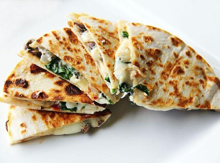 Goat Cheese,Spinach & Mushroom Quesadilla Recipe | Just A Pinch ...