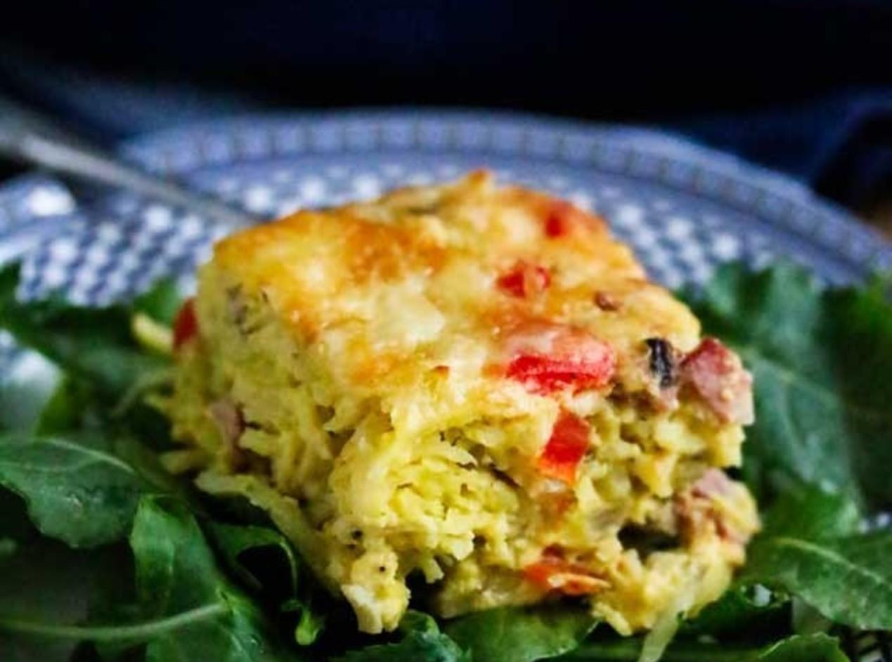 Healthy Bacon Egg Potato Breakfast Casserole Recipe | Just A Pinch ...