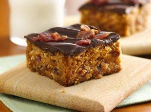 CHOCOLATE-TOPPED PEANUT BUTTER-BACON BARS Recipe