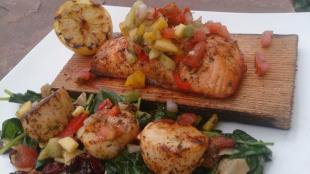 Summer Salmon & Scallops w/Mango Salsa and Spinach Recipe