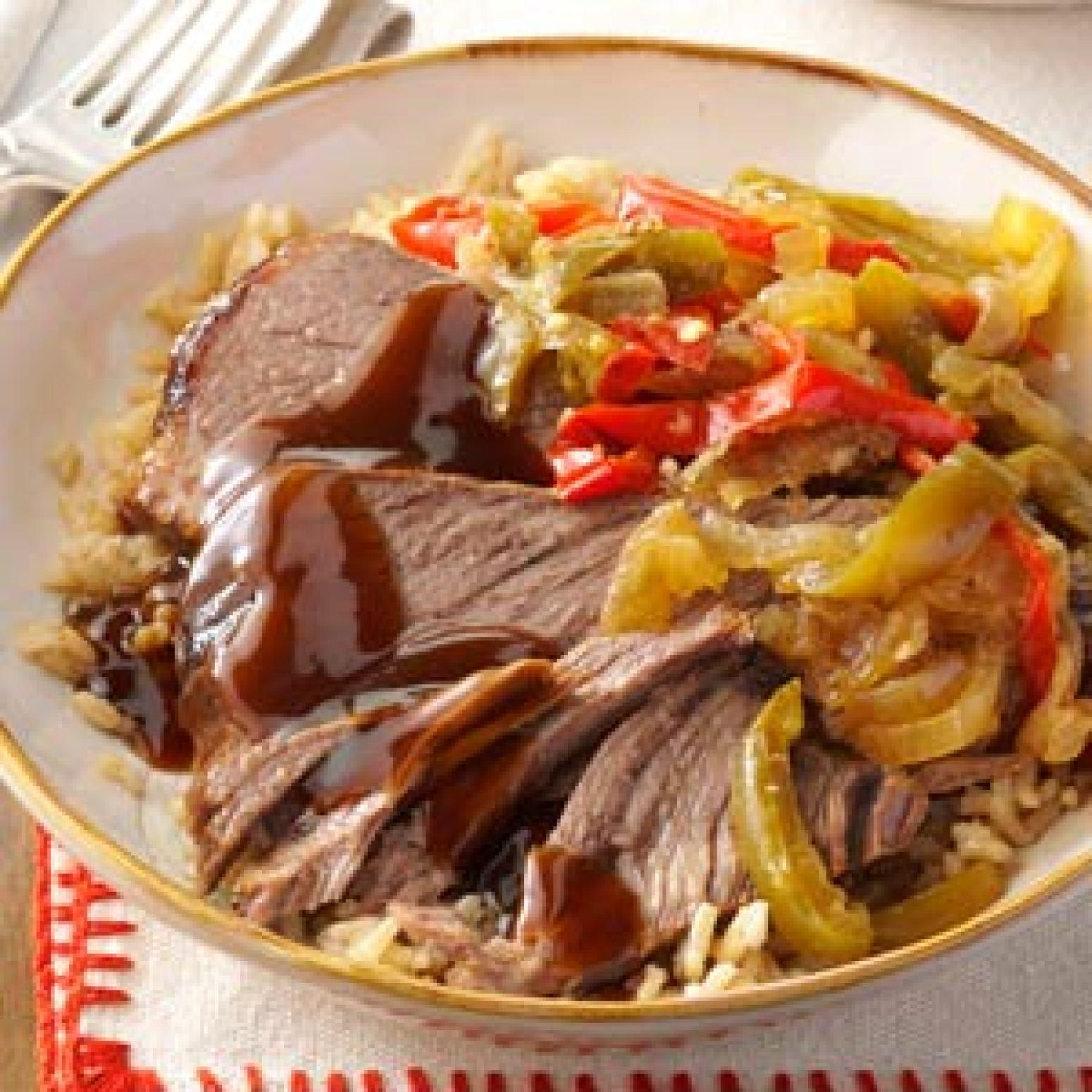 Slow Cooker Pepper Steak Recipe | Just A Pinch Recipes