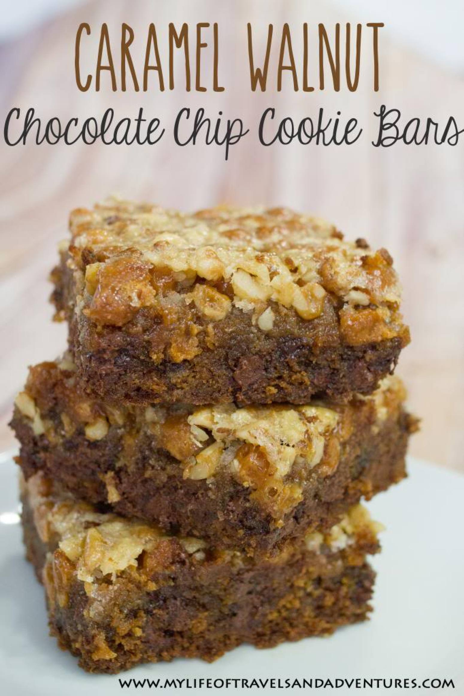 Caramel Walnut Chocolate Chip Cookie Bars Recipe | Just A ...