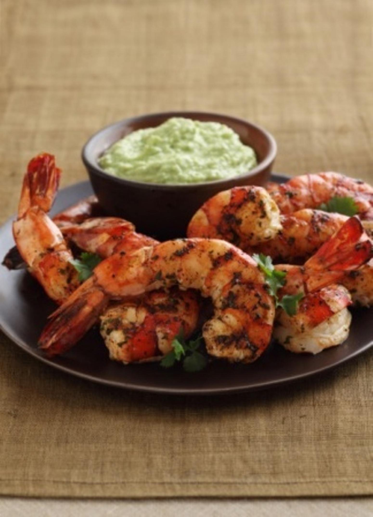 Grilled CilantroLime Shrimp with Spicy Avocado Puree Recipe | Just A ...