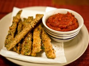 Parmesan Crusted Baked Zucchini Sticks with Marinara Sauce Recipe