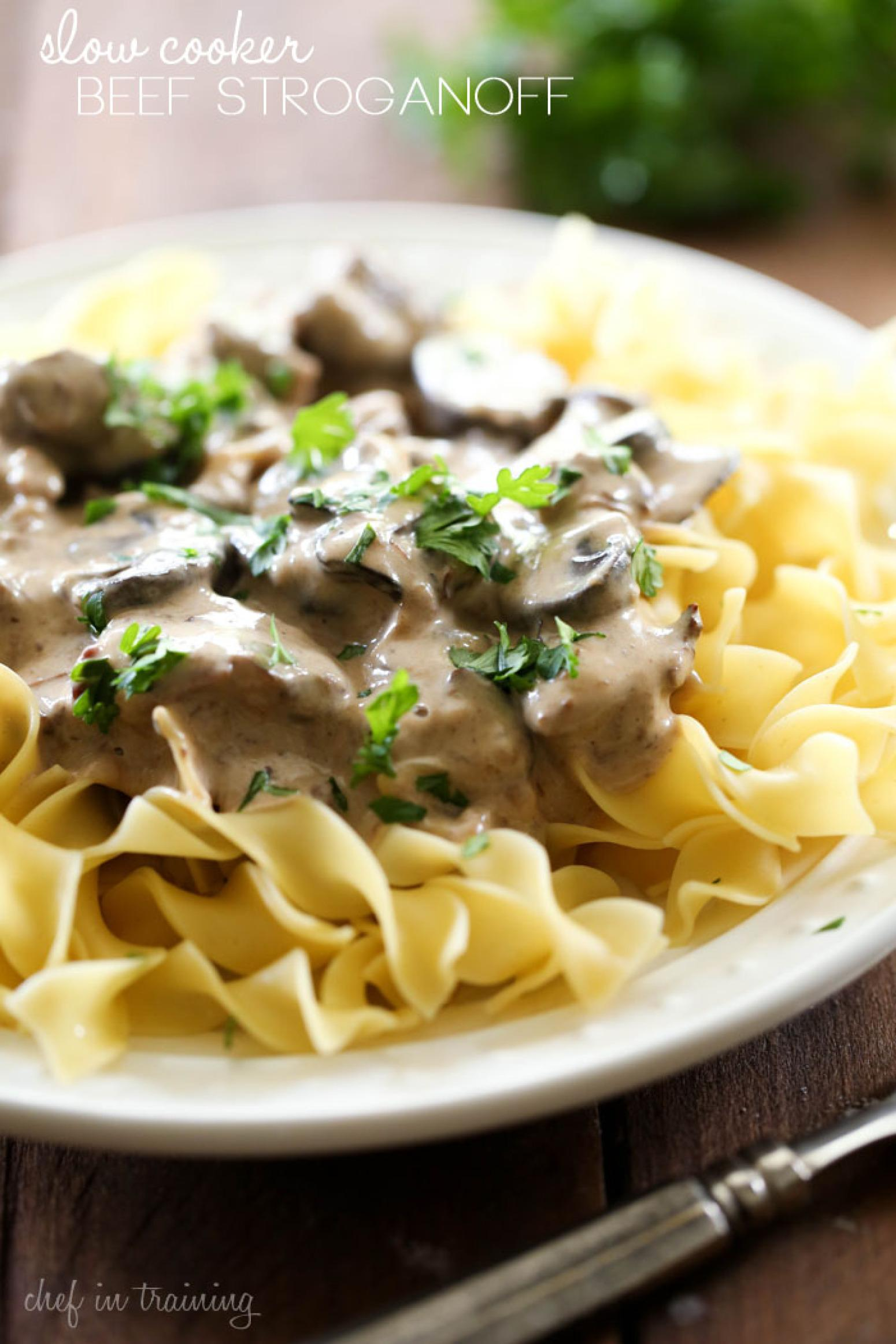 SLOW COOKER BEEF STROGANOFF Recipe 25 | Just A Pinch Recipes