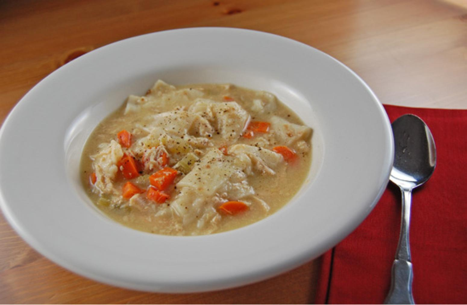 Chicken and Dumplings in the Slow Cooker Recipe | Just A Pinch Recipes