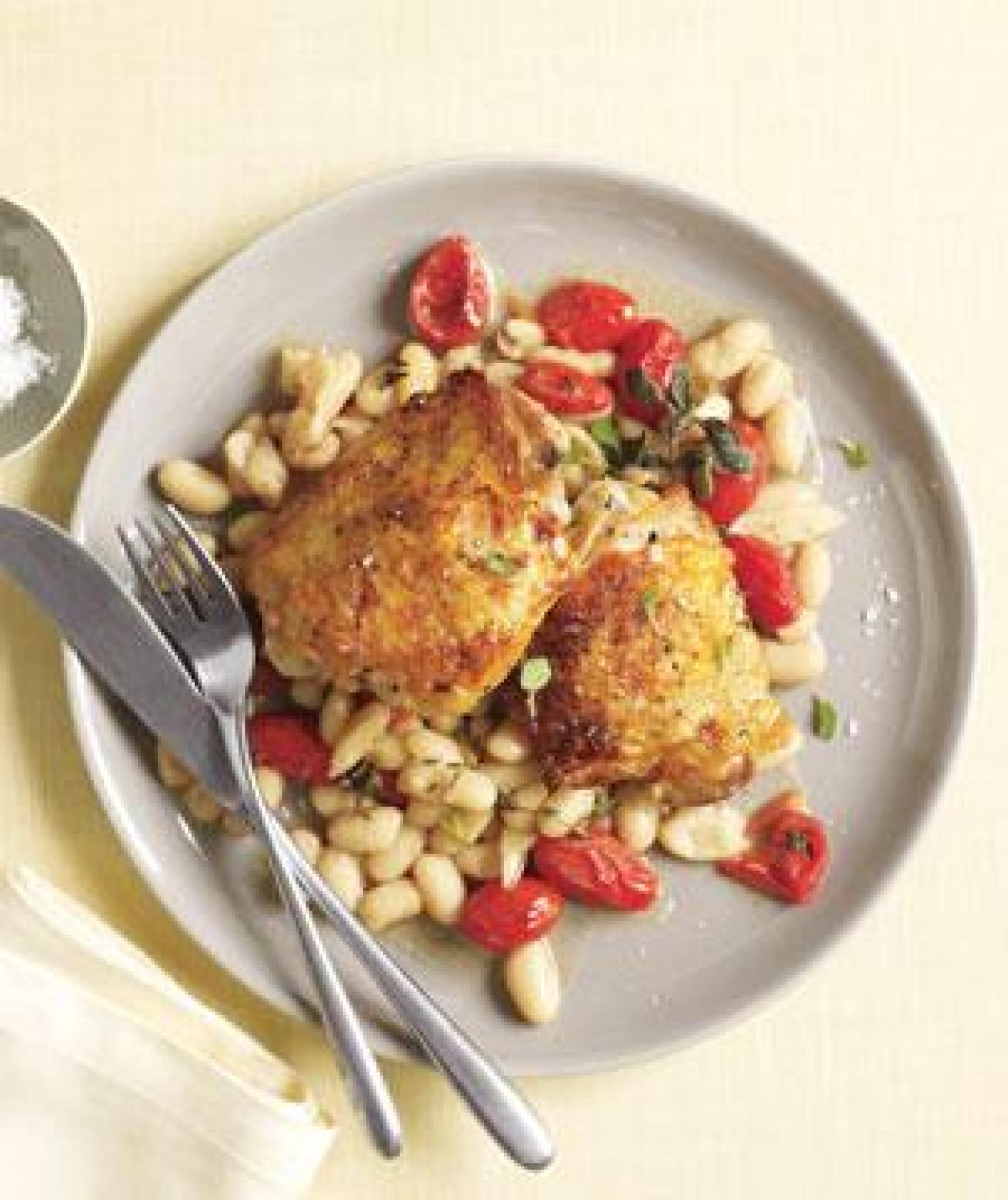 Chicken With White Beans and Tomatoes Recipe | Just A Pinch Recipes