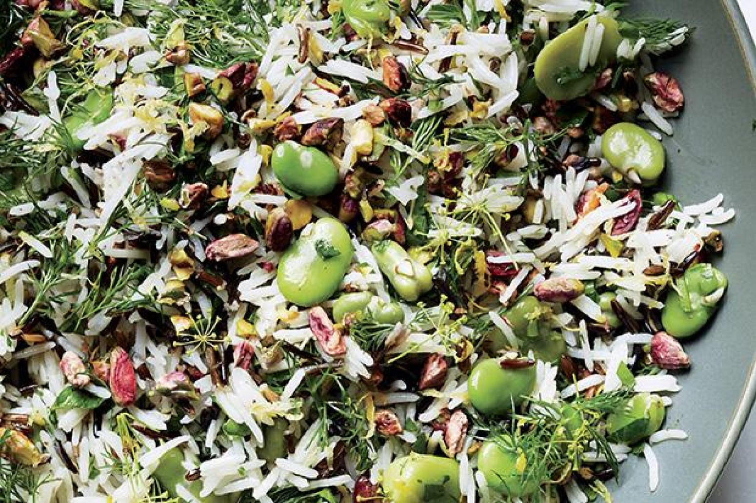 Rice Salad with Fava Beans and Pistachios Bon Recipe | Just A Pinch ...