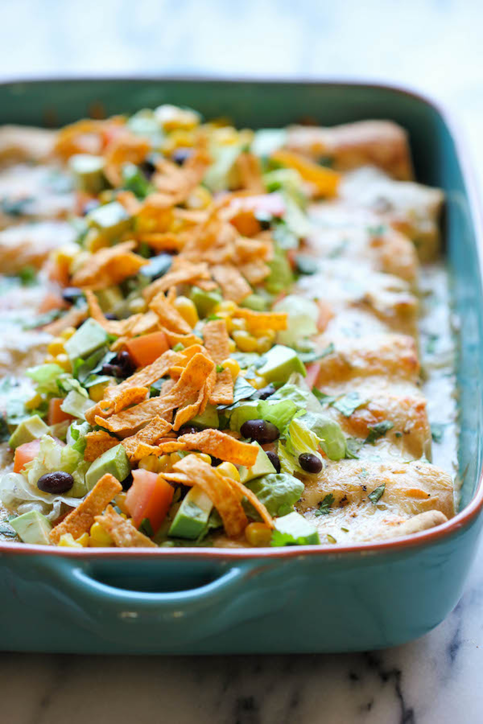 White Chicken Enchiladas with Green Chile Sour Cream Sauce Recipe 2 ...