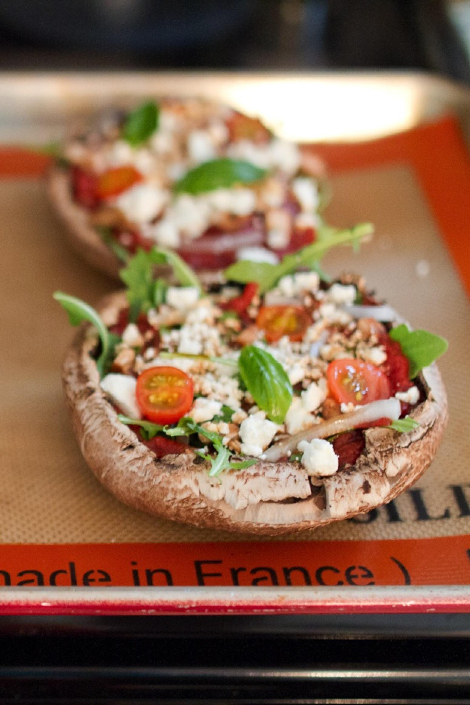 Arugula and Goat Cheese Portobello Pizzas Recipe | Just A Pinch ...