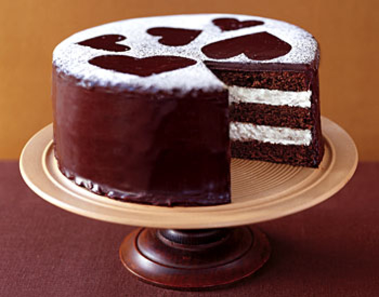 Semisweet Chocolate Layer Cake with Vanilla Cream Filling ...