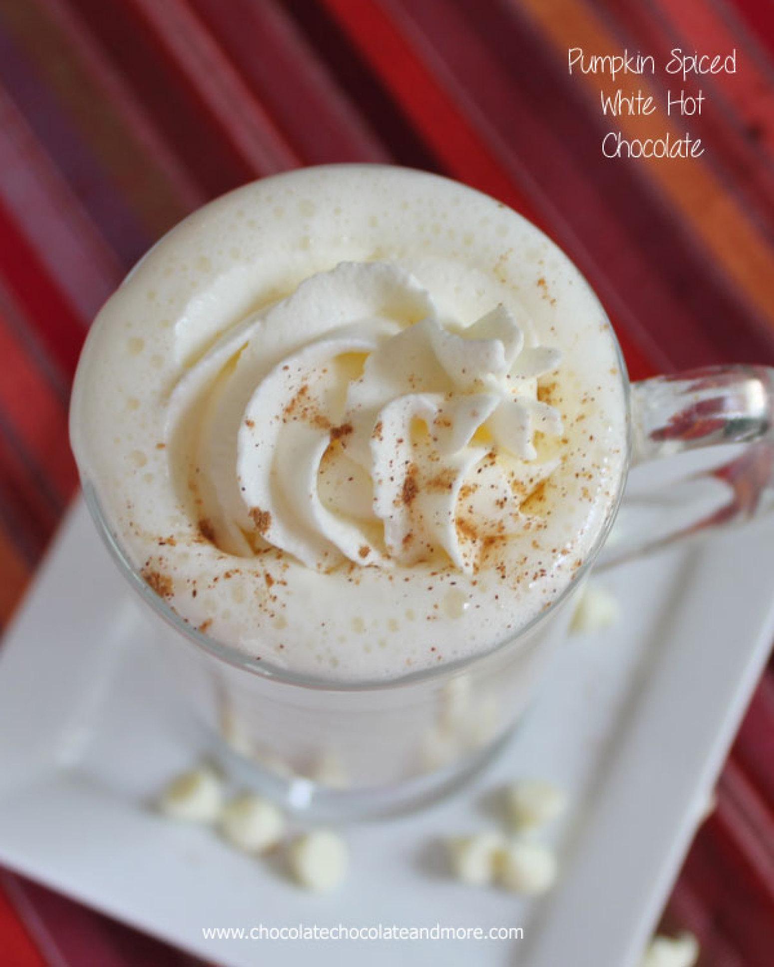 Pumpkin Pie Spiced White Hot Chocolate Recipe   Just A Pinch Recipes