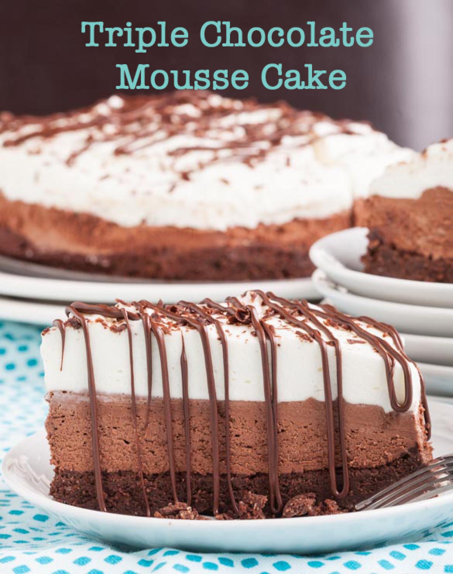Triple Chocolate Mousse Cake (GF) Recipe | Just A Pinch Recipes