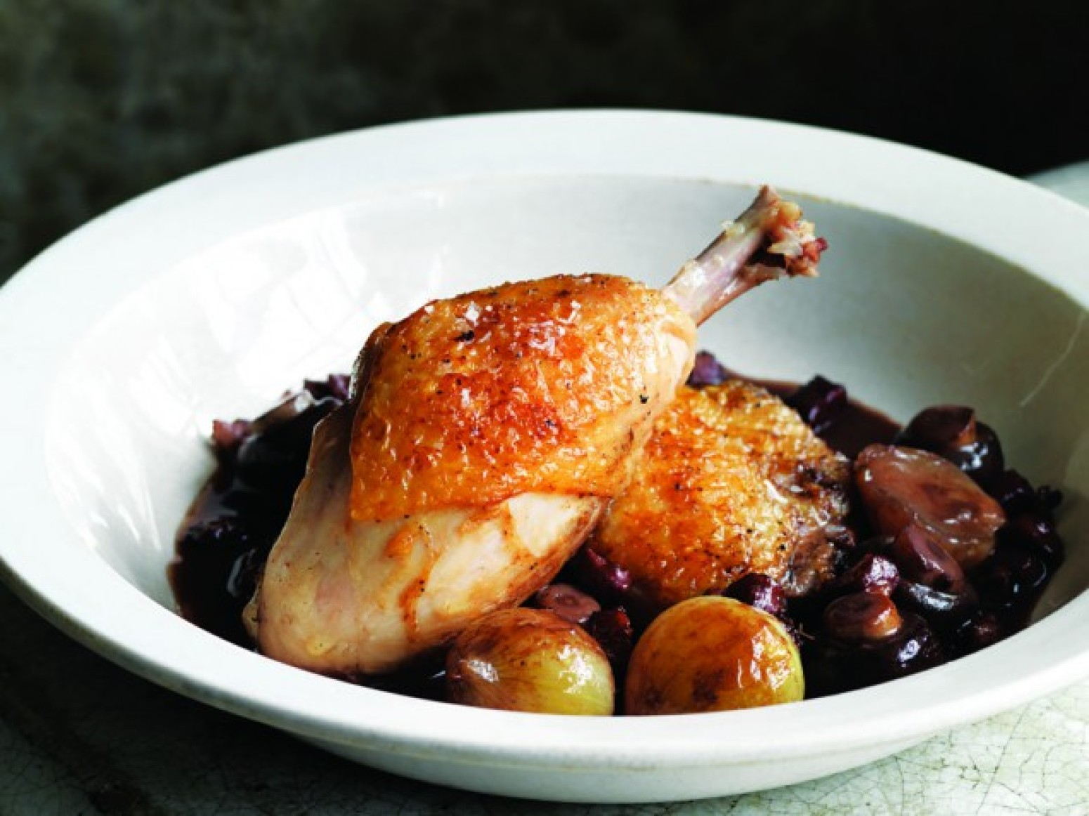 Braised Chicken Legs, Onion & Bacon Recipe   Just A Pinch ...