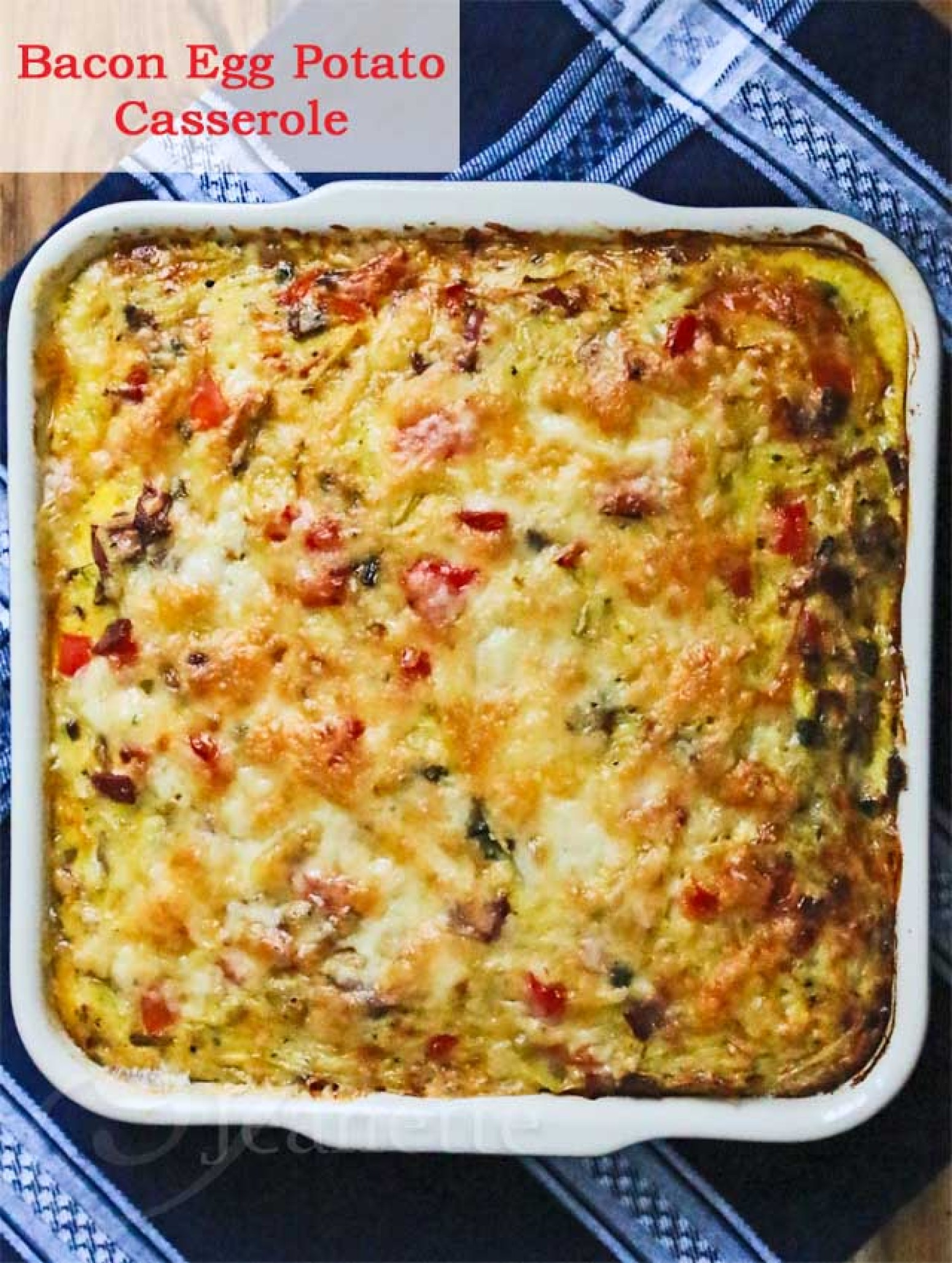 Healthy Bacon Egg Potato Breakfast Casserole Recipe 2 | Just A Pinch ...