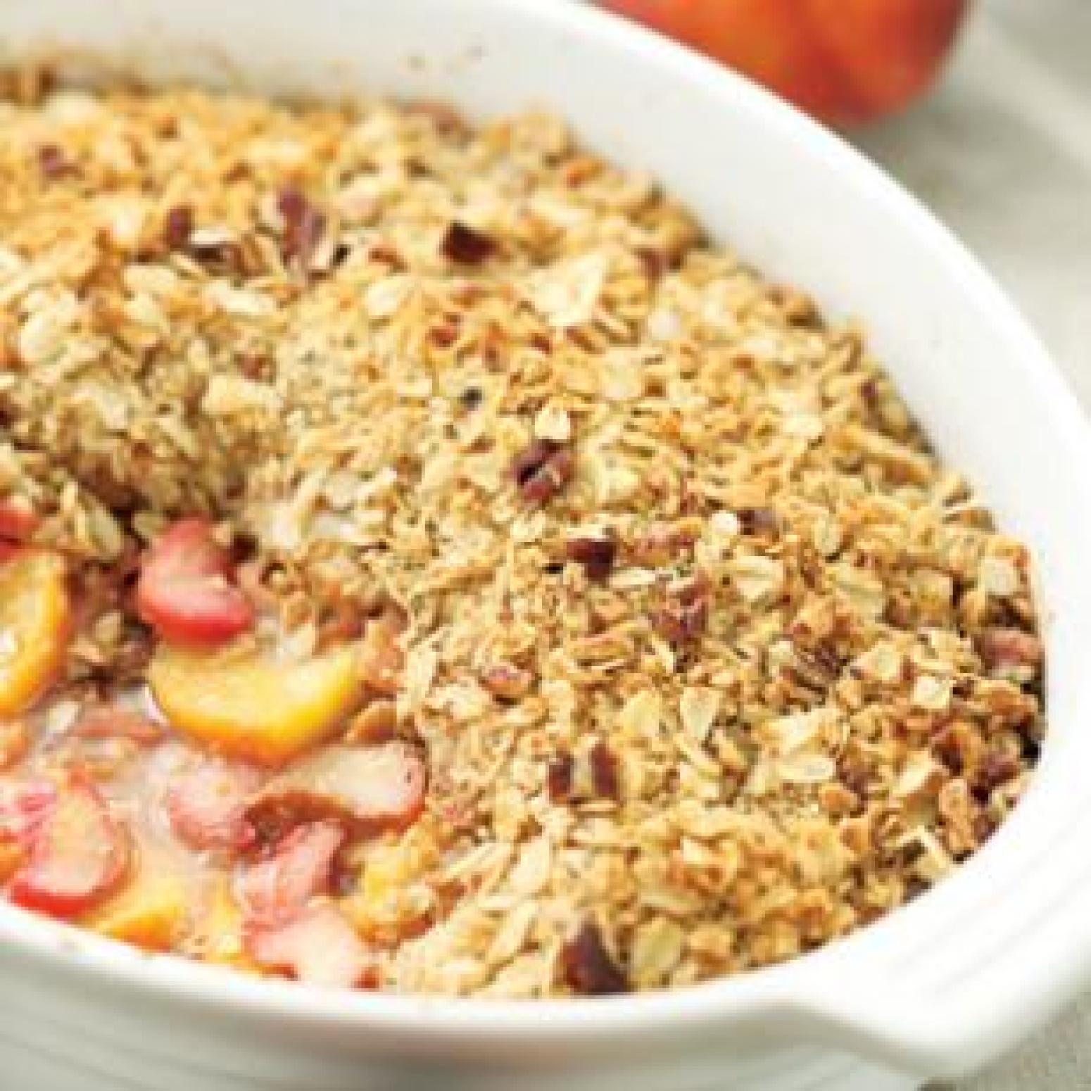 Peach Rhubarb & Ginger Crisp Recipe | Just A Pinch Recipes