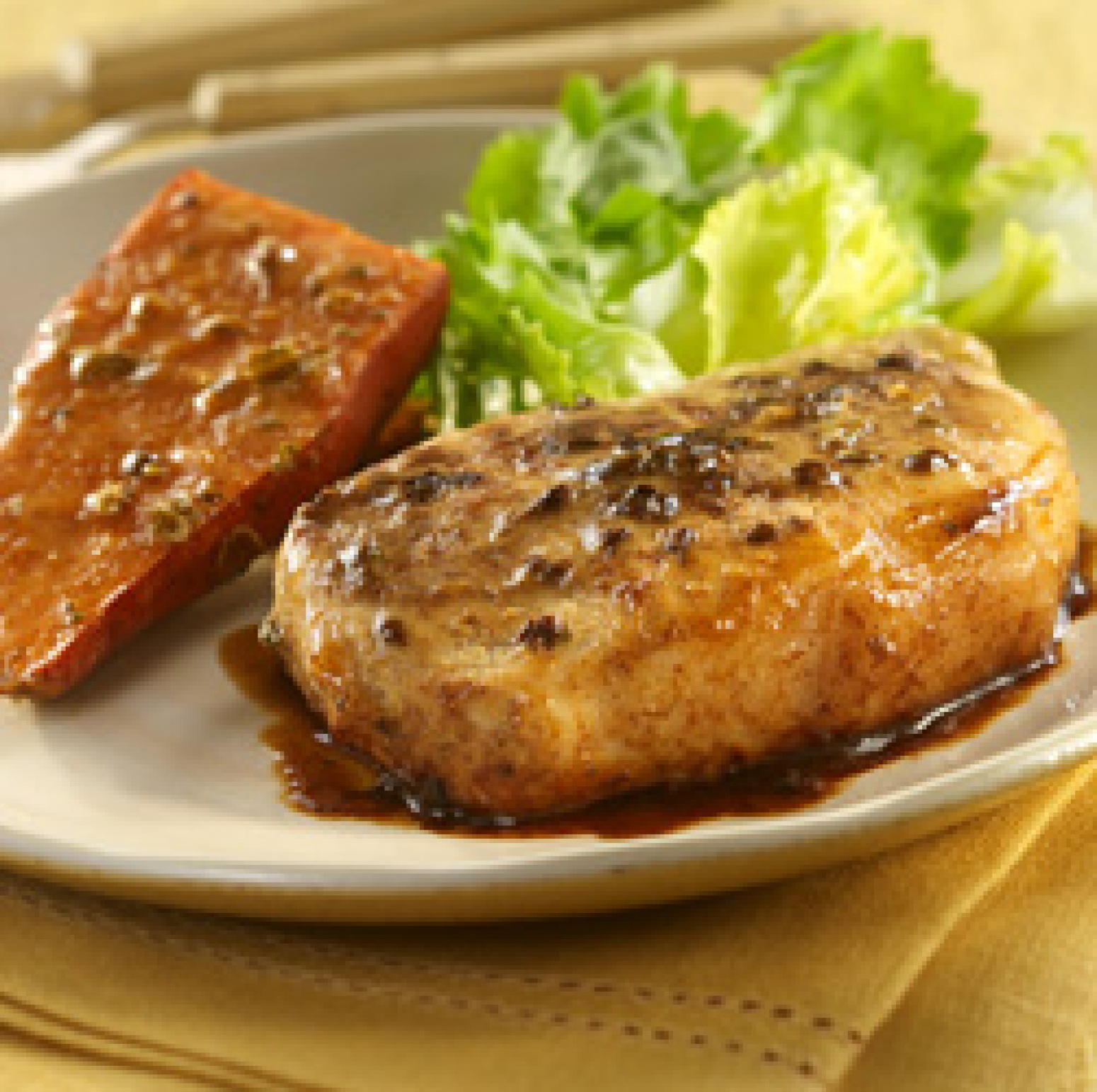 Maple-Mustard Pork with Sweet Potatoes Recipe | Just A Pinch Recipes