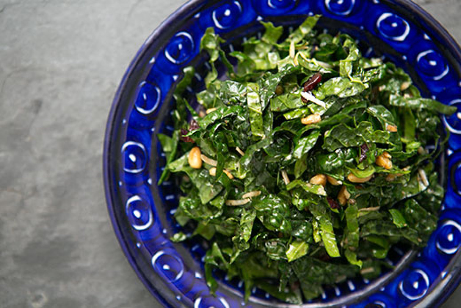 Raw Kale Salad with Balsamic, Pine Nuts, and Parmesan Recipe | Just A ...